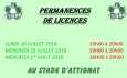 Permanences licences - Saison 2018-2019